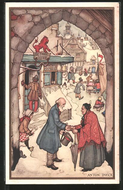 Künstler-AK Anton Pieck: alter Herr gibt einer Dame die Hand