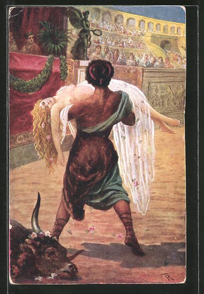 Künstler-AK Fr. Rösler: Quo Vadis?, Ursus rettet Lygia vom grausamen Tode