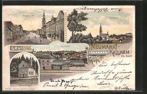 Lithographie Neumarkt, Bahnhof, Kalvarieberg, Ortsansicht von Kallham, Eisenbahn