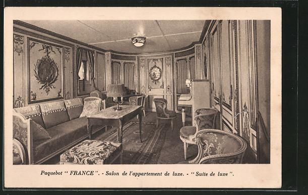 AK Passagierschiff Paquebot France, Salon de l\'appartement de luxe, Suite de luxe