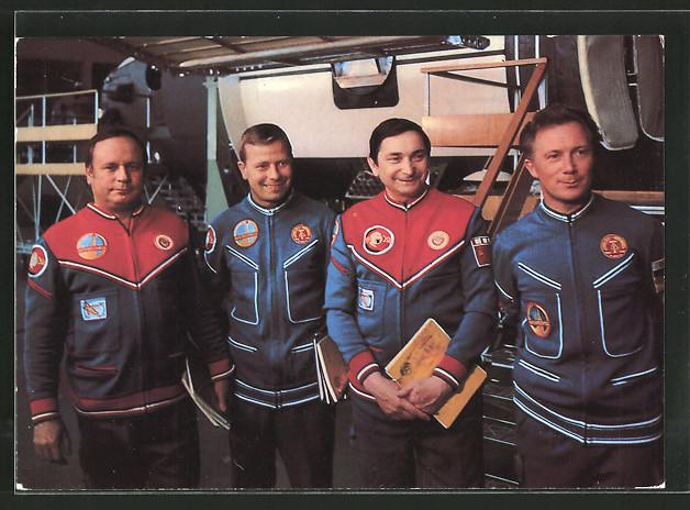 AK Gemeinsamer Kosmosflug UdSSR/ DDR, Kosmonauten Jähn, Bykowski, Kölnner und Gorbatko bei der Vorbereitung 0