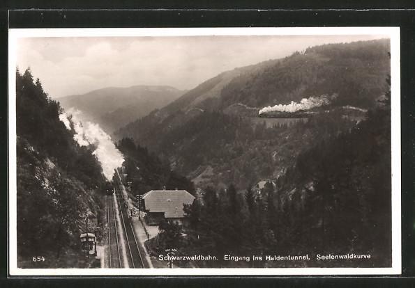 AK Schwarzwaldbahn, Eingang in den Haldentunnel mit Spreewaldkurve