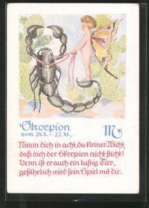 AK Sternzeichen: Skorpion, Engel mit Skorpion