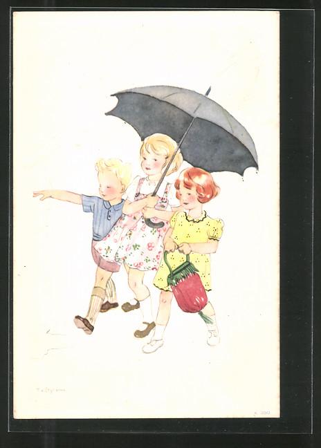 AK Kinderfürsorge, Kinder schützen sich mit Regenschirm vor Unwetter