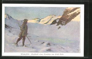 Künstler-AK Winterstille, Mann mit Schneeschuhen