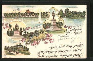 Lithographie Dortmund, Kaiser Wilhelm-Hain, Tempel, Kaiser Wilhelm-Denkmal, Kaiser Friedrich-Denkmal