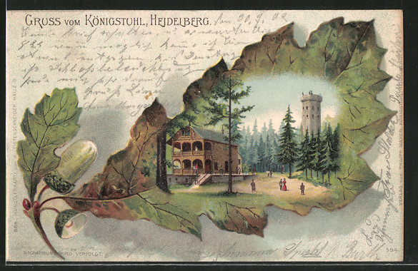 Passepartout-Lithographie Heidelberg, Gasthaus Königstuhl mit Aussichtsturm, Eichenblatt