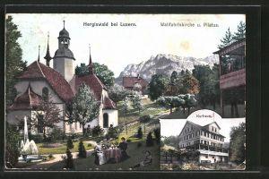 AK Hergiswald, Wallfahrtskirche & Pilatus, Kurhaus