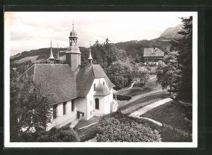 AK Hergiswald, Ortsansicht mit Wallfahrtskirche