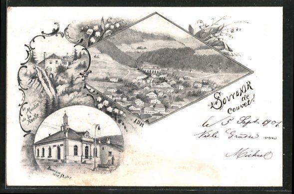 Ak couvet bureau des postes le moulin de la roche vue générale nr