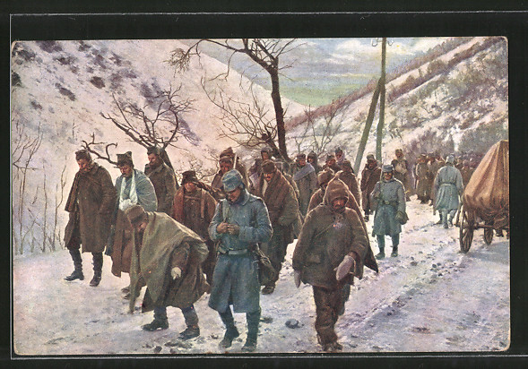 AK Verwundete und gefangene Serben werden durch das Ibartal transportiert