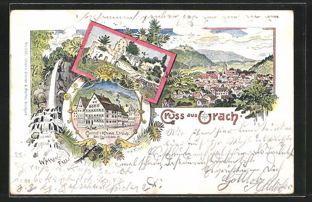 Künstler-AK Urach, Gasthof zur Krone v. L. Haas, Ruine Hohen-Urach, Ortspanorama
