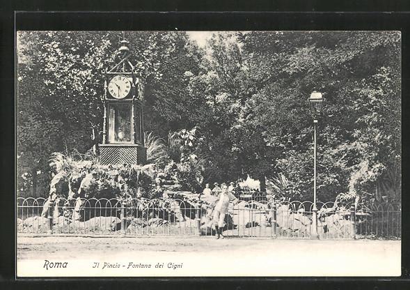AK Roma, Il Pincio, Fontana dei Cigni