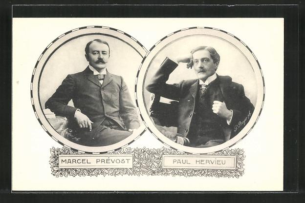 AK Marcel Prévost und Paul Hervieu, Französische Schriftsteller