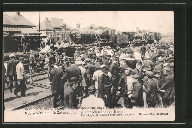 AK Contich, Terrible accident de chemin de fer 1908, vue générale de la catastrophe, Eisenbahnkatastrophe