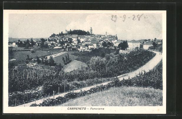 AK Carpeneto, Blick von einer Strasse auf den Ort