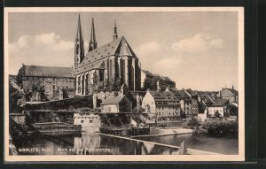 AK Görlitz, Teilansicht mit Blick auf die Peterskirche
