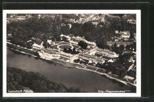 AK Dresden-Pillnitz, Lustschloss Pillnitz, Fliegeraufnahme