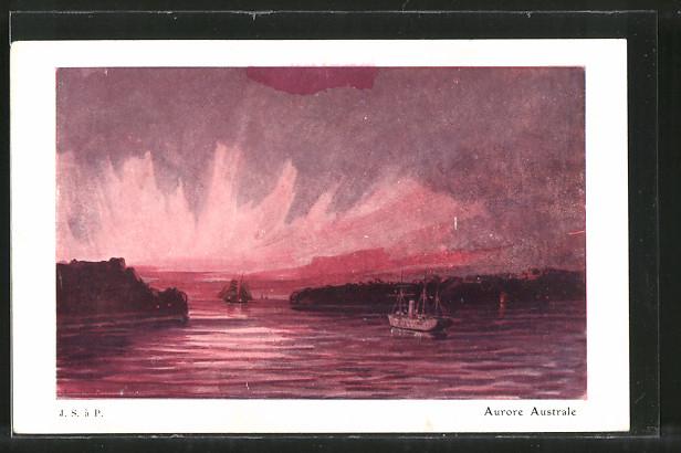 Künstler-AK Aurore Australe, Südlicht über dem Meer