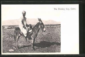 AK Cairo, The Donkey boy, Mann auf Esel