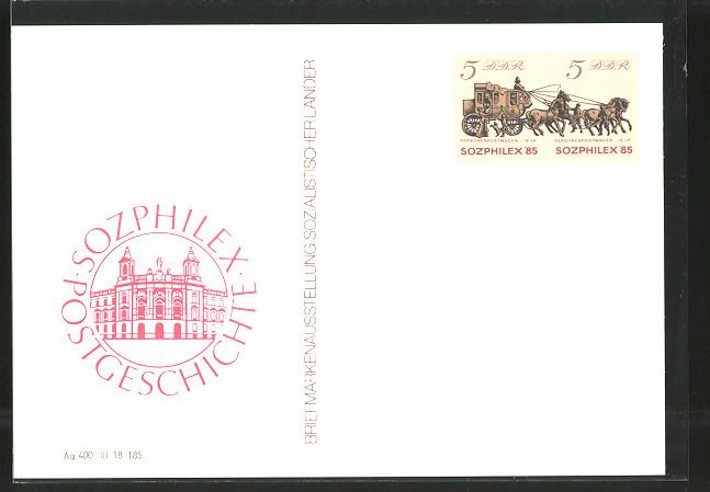 AK Ganzsache Sozphilex '85, Briefmarkenausstellung Sozialistischer Länder