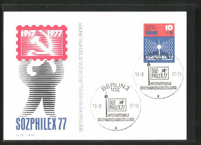 AK Ganzsache, Sozphilex 1977, Briefmarkenausstellung Sozialistischer Länder