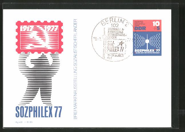 AK Berlin Sozphilex 1977, Briefmarkenausstellung Sozialistischer Länder, Ganzsache