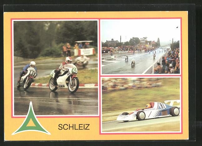 AK Schleiz, 50. Dreieckrennen 1983, Juhasz und Adamovic auf regennasser Strasse, Ulli Melkus