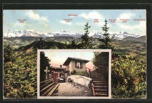 AK Albis, Gasthof Albishorn, Panorama gegen die Alpen