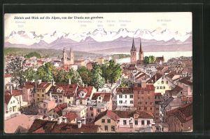 AK Zürich, Teilansicht mit Blick auf die Alpen, von der Urania aus