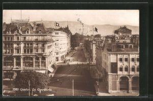 AK Genève, La Corraterie mit Strassenbahn