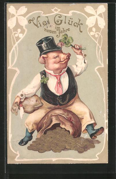Präge-AK Schwein auf einem Geldsack mit Glücksklee