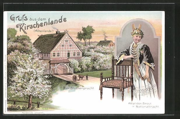 Lithographie Jork, Altländer Braut in Tracht, Gehöft zur Blütenpracht