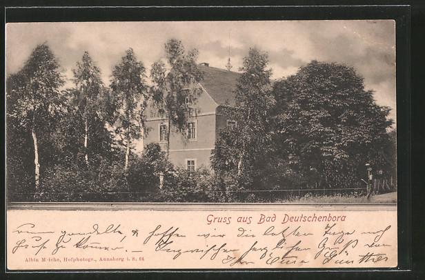 ak bad deutschenbora blick auf ein wohnhaus nr 7062854 oldthing ansichtskarten deutschland. Black Bedroom Furniture Sets. Home Design Ideas