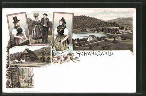 Lithographie Titisee, Ortsansicht, Schwarzwälder Bauernhaus, Frauen in Tracht
