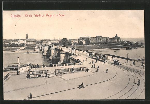 AK Dresden-Neustadt, Strassenbahn an der König Friedrich August Brücke