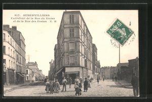 AK Aubervilliers, Carrefour de la rue du Vivier et de la rue des postes
