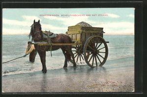 AK Scheveningen, Schelpvisschers aan het strand, Muschelfischer mit seinem Pferdegespann