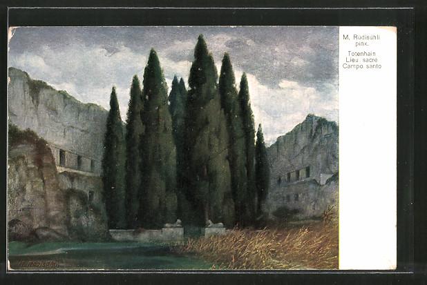 Künstler-AK sign. M. Rüdisühli: Totenhain, Le sacre Campo santo