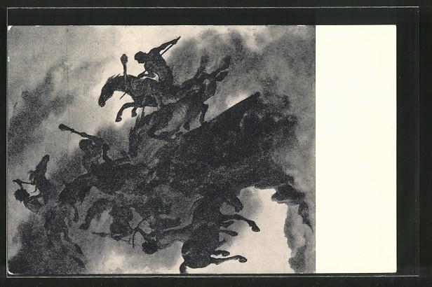 Künstler-AK Albert Welti: Der Nebelreiter