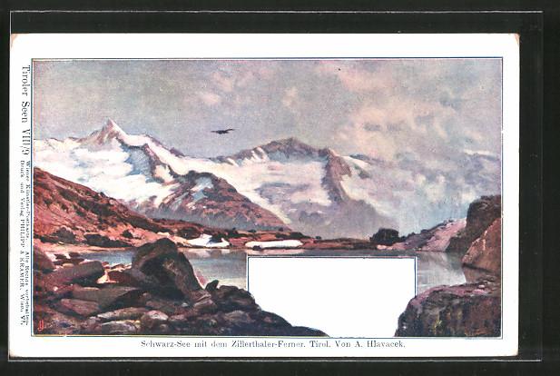 Künstler-Lithographie Anton Hlavacek: Schwarzer-See mirt Zillerthaler-Ferner, Landschaftsbild