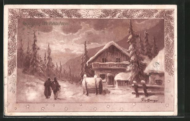 Künstler-AK Leopold Schweiger: Fröhliche Weihnachten!, Winteridyll