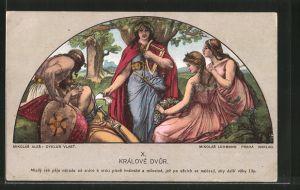 Künstler-AK sign. Mikolás Ales: Králove Dvur, trauernder Krieger, Harfenspieler, Frauen mit einem Kranz