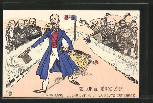 Künstler-AK Karikatur, Politiker Paul Deroulede kehrt zurück