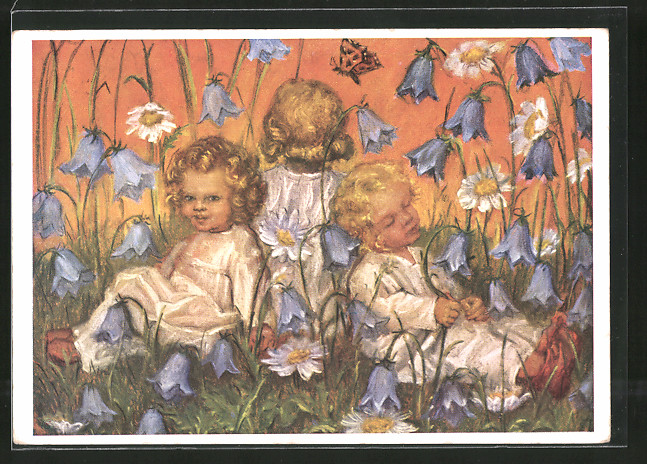 Künstler-AK Maria Spötl: Blumenkinder