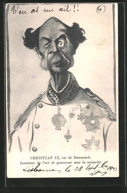 AK Karikatur von Christian IX König von Dänemark