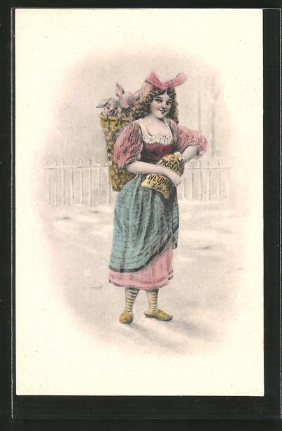 AK Neujahrsgruss, Junge Frau mit Ferkeln in ihrer Kiepe