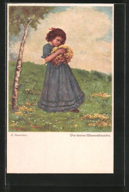 Künstler-AK C. Sporleder: Die kleine Blumenfreundin, Mädchen trägt einen Blumenstrauss