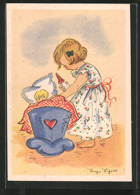 Künstler-AK Inge Schott: Kleine Puppenmutter