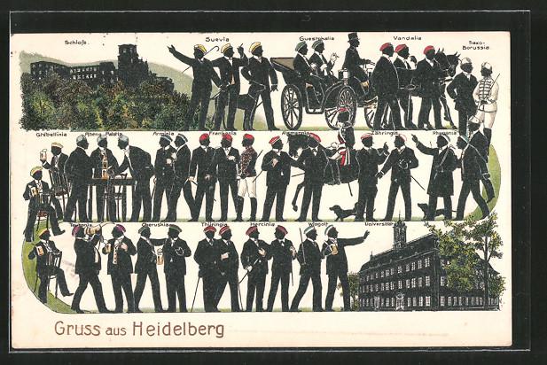 Präge Ak Heidelberg Burschenschafter Versch Verbindungen U A Rhenania Cheruskia Schloss Universität